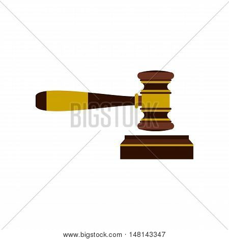 Judges gavel icon in flat style isolated on white background. Blow symbol vector illustration