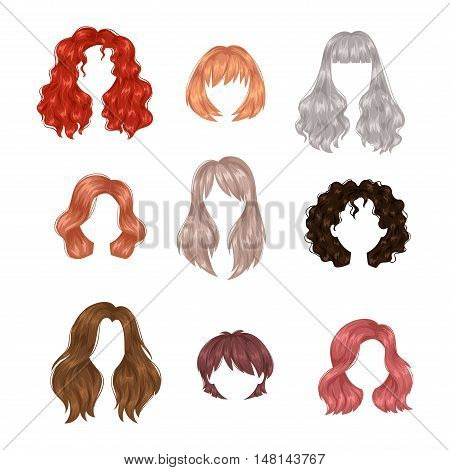 Vector design of beautiful collection of female hairstyle.