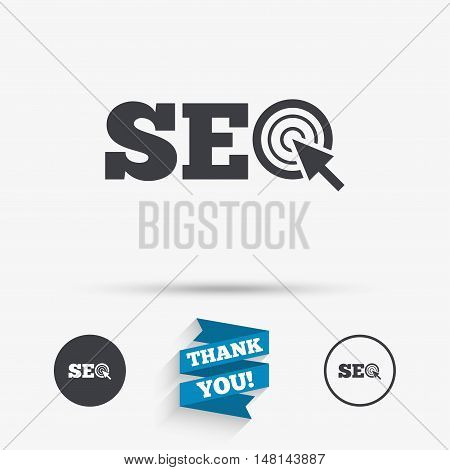 SEO sign icon. Search Engine Optimization symbol. Flat icons. Buttons with icons. Thank you ribbon. Vector