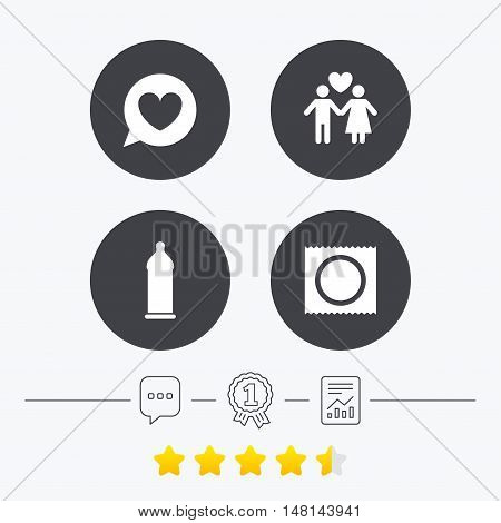 Condom safe sex icons. Lovers couple signs. Male love female. Speech bubble with heart. Chat, award medal and report linear icons. Star vote ranking. Vector