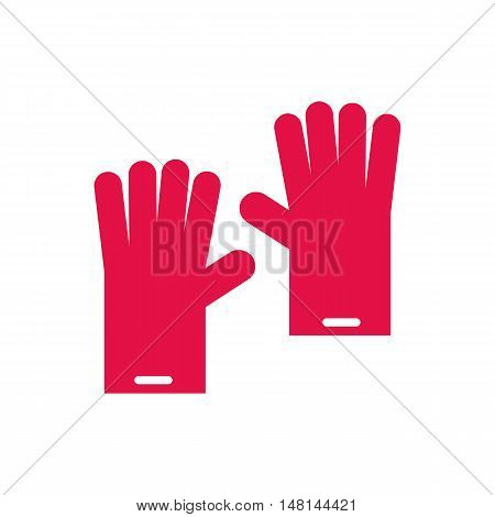 Pink gloves for cleaning icon in flat style isolated on white background. Accessory symbol vector illustration