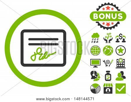 Agreement icon with bonus symbols. Vector illustration style is flat iconic bicolor symbols eco green and gray colors white background.