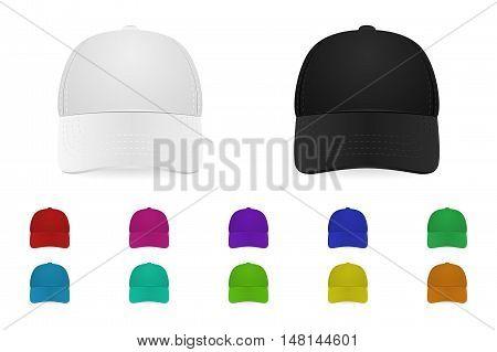 Set of baseball caps. Vector EPS10 illustration.