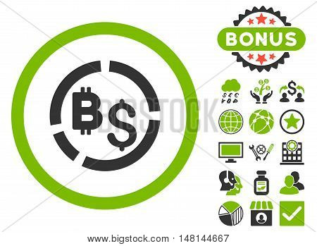 Bitcoin Financial Diagram icon with bonus elements. Vector illustration style is flat iconic bicolor symbols eco green and gray colors white background.
