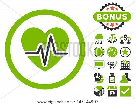 Heart Diagram icon with bonus pictures. Vector illustration style is flat iconic bicolor symbols eco green and gray colors white background.