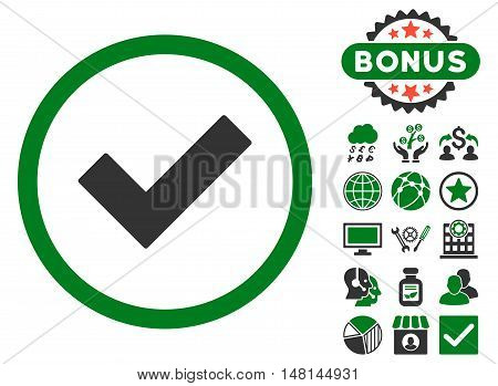 Accept icon with bonus elements. Vector illustration style is flat iconic bicolor symbols green and gray colors white background.