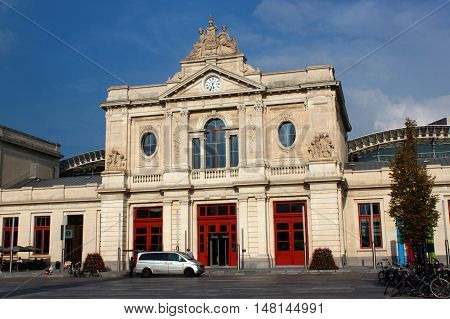 BELGIUM, LEUVEN - SEPTEMBER 05, 2014: The old building of the central  railway station in Leuven. Belgium.Flanders.