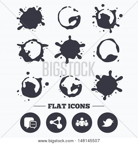 Paint, coffee or milk splash blots. Social media icons. Chat speech bubble and Bird chick symbols. Human group sign. Smudges splashes drops. Vector