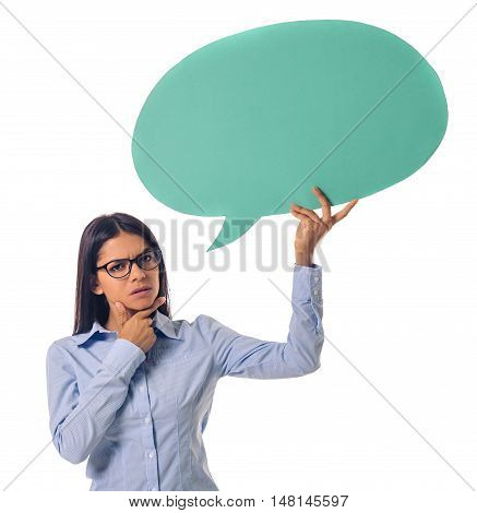 Beautiful Business Lady With Speech Bubble