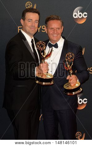 LOS ANGELES - SEP 18:  Carson Daly, Mark Burnett at the 2016 Primetime Emmy Awards - Press Room at the Microsoft Theater on September 18, 2016 in Los Angeles, CA