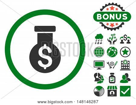 Alchemy icon with bonus symbols. Vector illustration style is flat iconic bicolor symbols green and gray colors white background.
