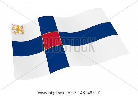 Finland State flag isolated on white background from world flags set. 3D illustration.
