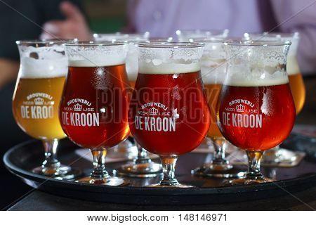 BELGIUM, NEERIJSE - SEPTEMBER 05, 2014: Tasting different beers in the family brewery De Kroon in Belgium. Flanders.
