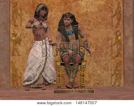 Egyptian Queen advises Pharaoh 3D Illustration - The rulers of Egypt in the Old Kingdom consult with each other about the daily affairs in the palace.