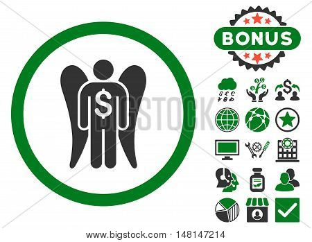 Angel Investor icon with bonus elements. Vector illustration style is flat iconic bicolor symbols green and gray colors white background.