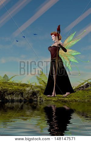 Fairy Lillith by Pond 3D Illustration - Three Bluebirds fly over fairy Lillith as she stands by a pond in the magical forest.