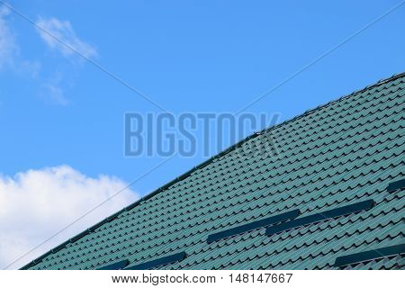 The Roof Of Corrugated Green Sheet