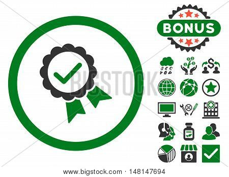 Approved icon with bonus design elements. Vector illustration style is flat iconic bicolor symbols green and gray colors white background.