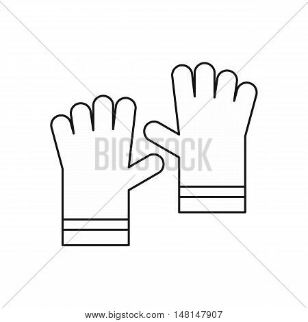 Garden gloves icon in outline style isolated on white background vector illustration