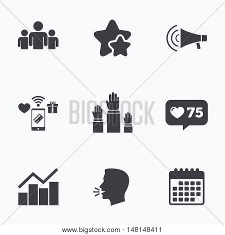 Strike group of people icon. Megaphone loudspeaker sign. Election or voting symbol. Hands raised up. Flat talking head, calendar icons. Stars, like counter icons. Vector
