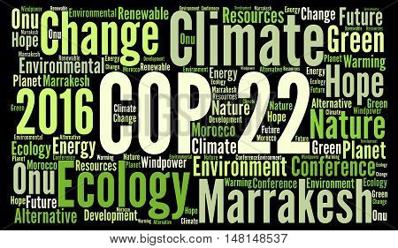 COP 22 in Marrakesh, Morocco word cloud