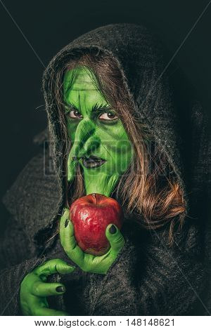 Angry Witch With A Rotten Apple