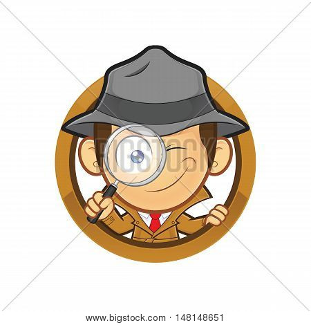 Clipart picture of a detective cartoon character holding a magnifying glass with circle shape