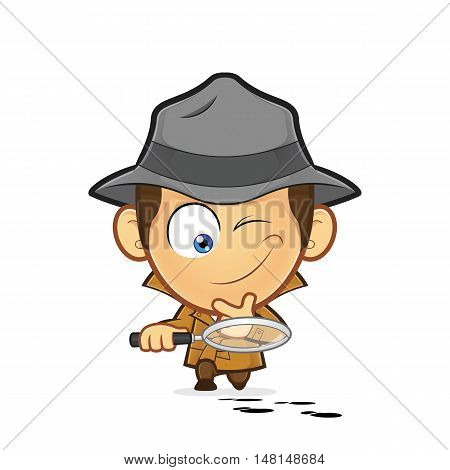 Clipart picture of a detective cartoon character investigating a track of footprints