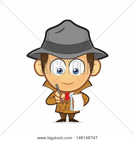 Clipart picture of a detective cartoon character with a notepad and pen