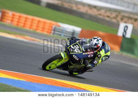 CHESTE, SPAIN - SEPTEMBER 17th: Gino Navarro in Moto3 during Spanish Speed Championship CEV at Cheste Circuit on September 17, 2016 in Cheste, Spain