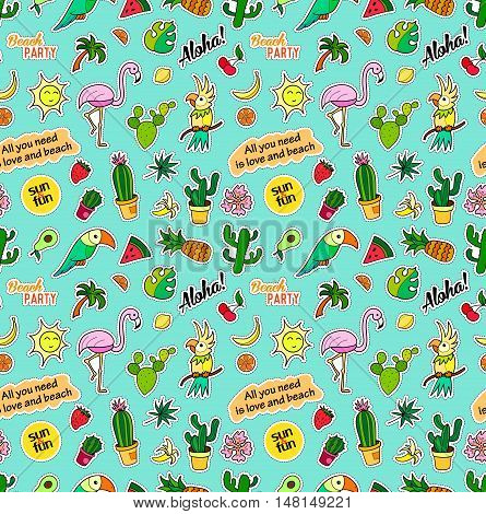 Seamless pattern with fashion patch badges. Pop art. Vector background with stickers, pins, patches in cartoon 80s-90s comic style. Tropical fruits, parrots, cactuses, leaves. Vector clip-art.