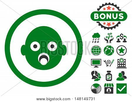 Baby Head icon with bonus pictures. Vector illustration style is flat iconic bicolor symbols green and gray colors white background.