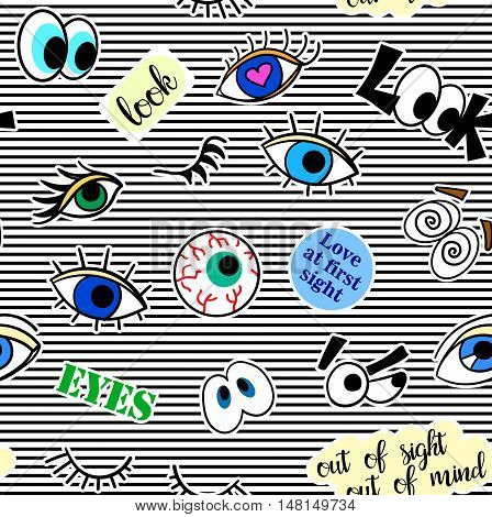 Seamless pattern with fashion patch badges. Pop art. Vector background with stickers, pins, patches in cartoon 80s-90s comic style. Eyes. Vector clip-art.