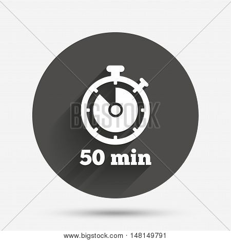 Timer sign icon. 50 minutes stopwatch symbol. Circle flat button with shadow. Vector