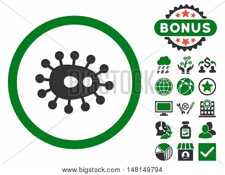 Bacilla icon with bonus design elements. Vector illustration style is flat iconic bicolor symbols green and gray colors white background.