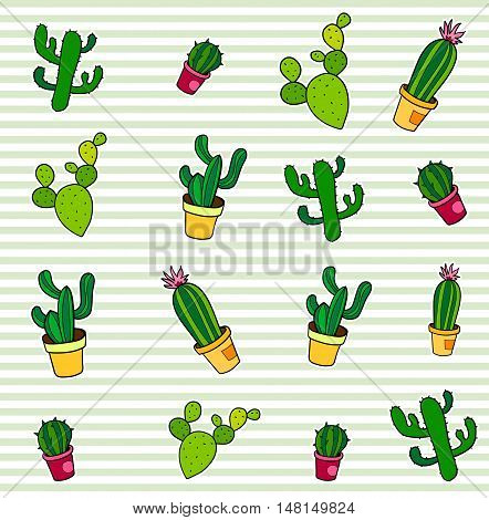 Seamless pattern with fashion patch badges. Pop art. Vector background with stickers, pins, patches in cartoon 80s-90s comic style. Cactuses set. Vector clip-art.