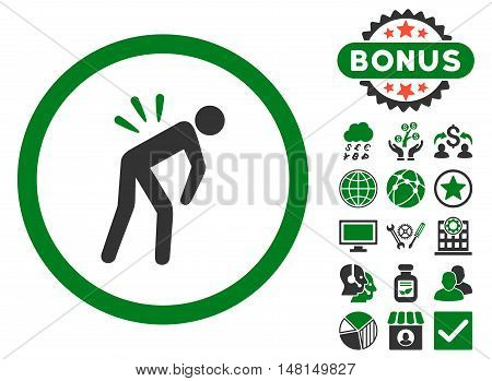 Backache icon with bonus pictogram. Vector illustration style is flat iconic bicolor symbols green and gray colors white background.