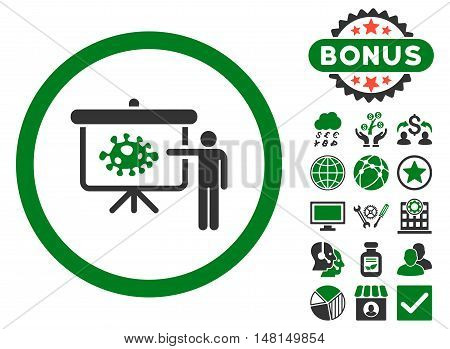 Bacteria Lecture icon with bonus design elements. Vector illustration style is flat iconic bicolor symbols green and gray colors white background.