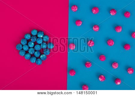 Abstract Colorful Background. Modern Material Design. Two colors with decoraions