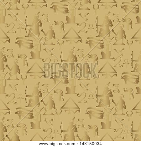 Stylish vector seamless pattern background illustration with Egyptian symbols. Gold Egyptian hieroglyphs and symbols on the shiny background