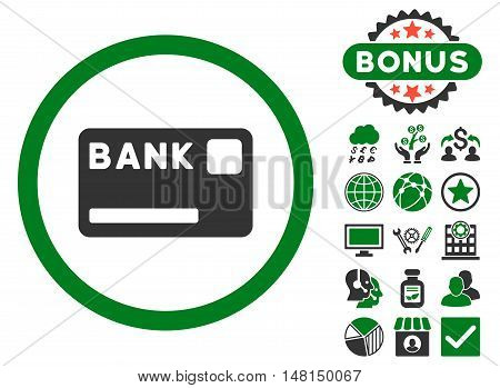 Bank Card icon with bonus images. Vector illustration style is flat iconic bicolor symbols green and gray colors white background.