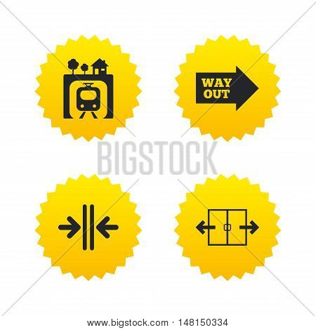 Underground metro train icon. Automatic door symbol. Way out arrow sign. Yellow stars labels with flat icons. Vector