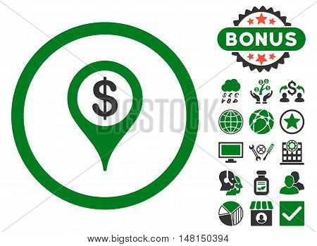 Bank Location icon with bonus elements. Vector illustration style is flat iconic bicolor symbols green and gray colors white background.
