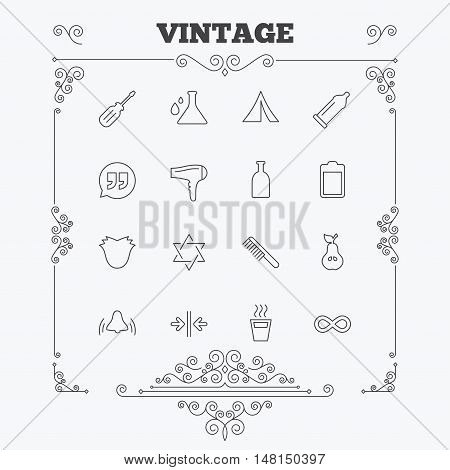 Universal icons. Camping tent, bottle and hot coffee drink. Hair dryer, battery and david star. Screwdriver tool, quotes and camping tent. Vintage ornament patterns. Decoration design elements. Vector