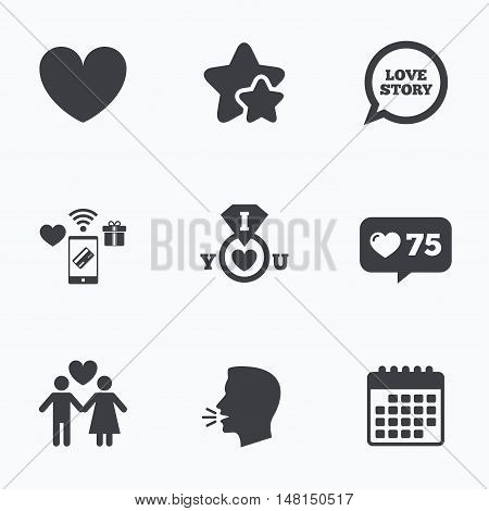 Valentine day love icons. I love you ring symbol. Couple lovers sign. Love story speech bubble. Flat talking head, calendar icons. Stars, like counter icons. Vector
