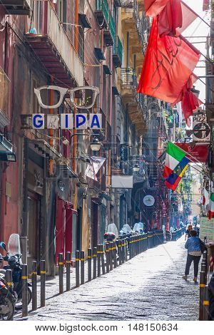 Street In Historic Center Of Naples City, Italy