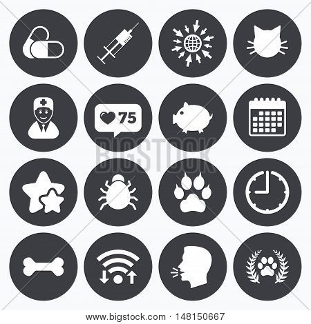Calendar, wifi and clock symbols. Like counter, stars symbols. Veterinary, pets icons. Paw, syringe and bone signs. Pills, cat and doctor symbols. Talking head, go to web symbols. Vector