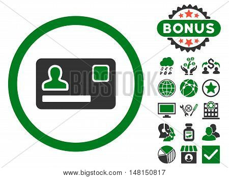 Banking Card icon with bonus symbols. Vector illustration style is flat iconic bicolor symbols green and gray colors white background.