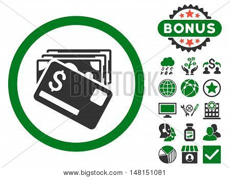 Banknotes and Card icon with bonus pictogram. Vector illustration style is flat iconic bicolor symbols green and gray colors white background.