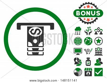 Banknotes Withdraw icon with bonus pictures. Vector illustration style is flat iconic bicolor symbols green and gray colors white background.